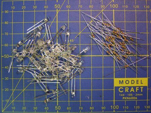 50 résistances choix tension 12 V ou 16 Promotion LOT 50 LED Ø 3 mm BLANC