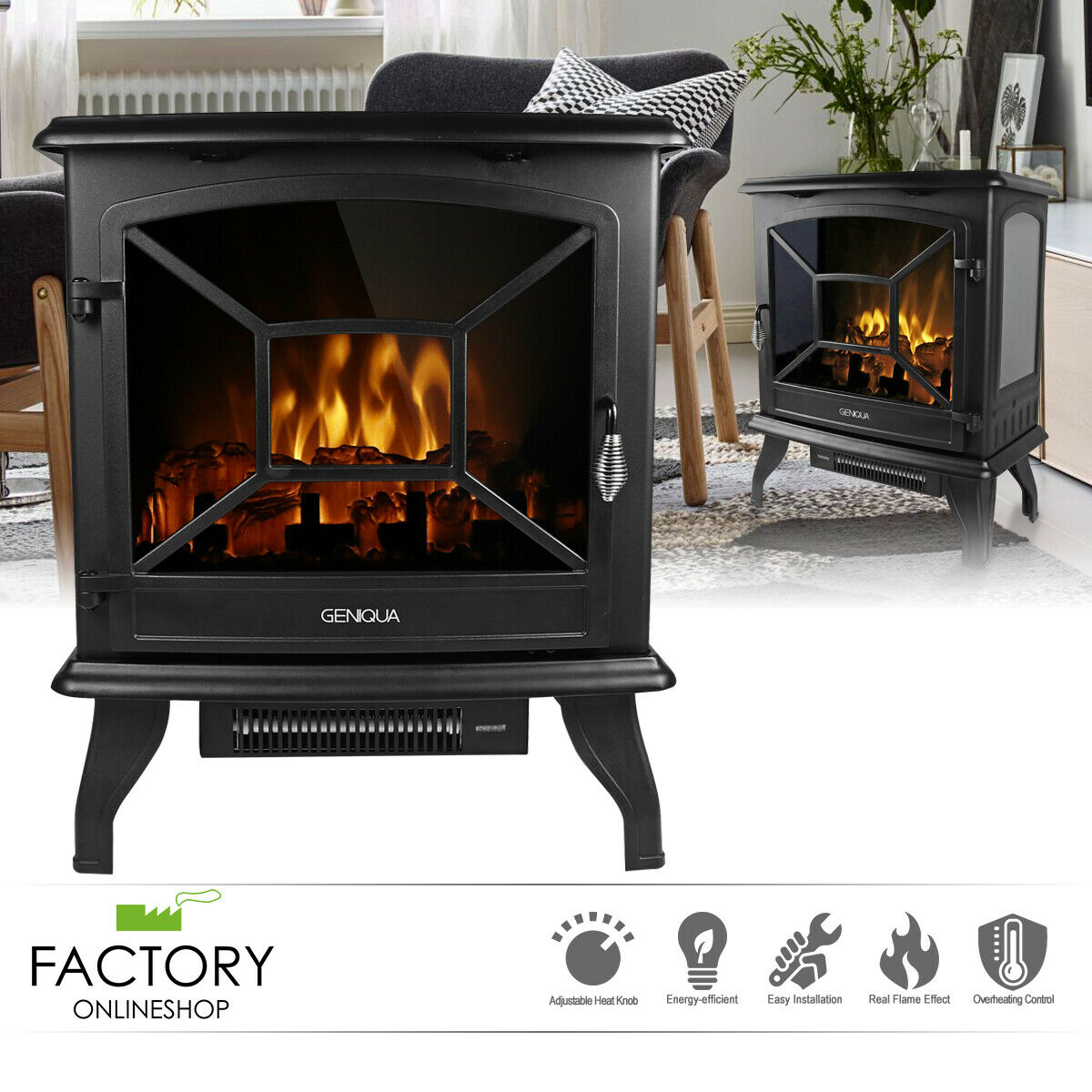 Flame Shade Electric Wood Stove Fireplace Heater Freestanding Height 25in For Sale Online Ebay