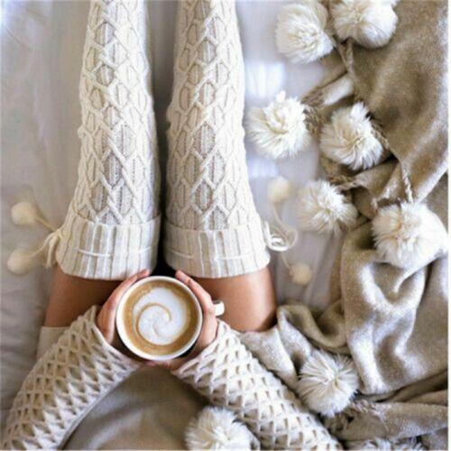 Stocking Wool Knit UK Long Socks Warm Thigh-Highs Women Knee Socks Winter