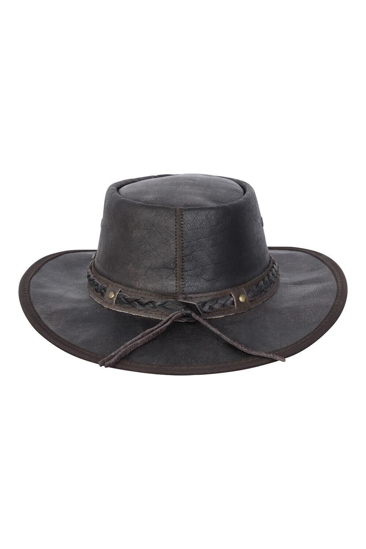 New Kids Real Distressed Leather Foldaway Australian Style Bush Hat Brown
