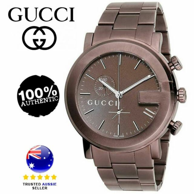 7f8405ac939 Gucci Quartz G Chrono Chronograph Brown Mens Watch Stainless BKPVD ...