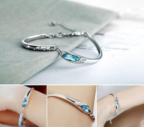 Fashion Silver Plated Crystal Chain Bracelet Women Charm Cuff Bangle New Jewelry