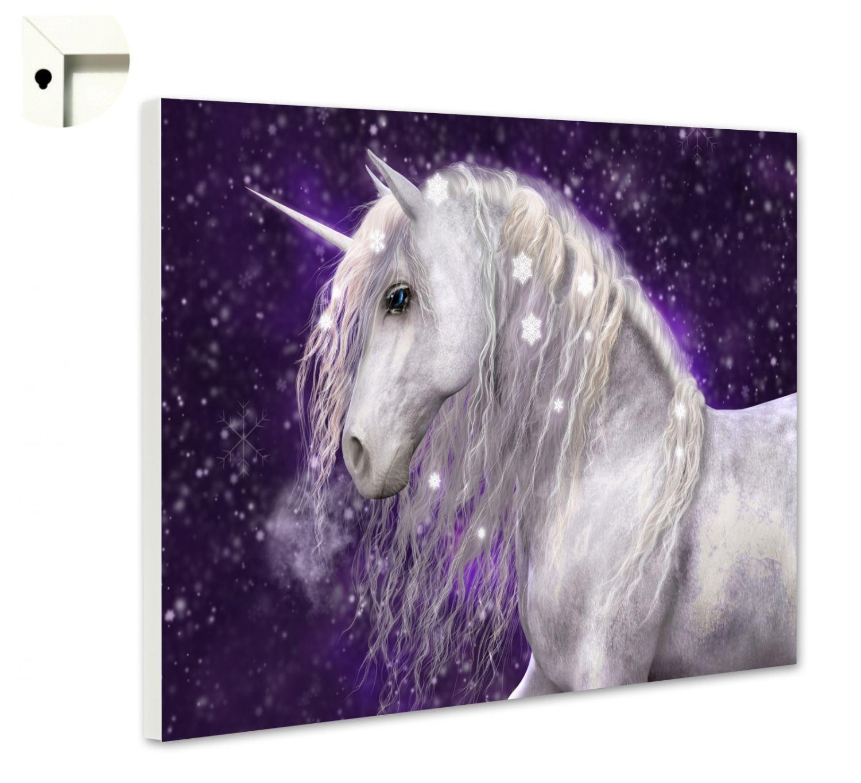 Magnettafel Pinnwand Memoboard Motiv Kinderzimmer Einhorn in lila und weiß