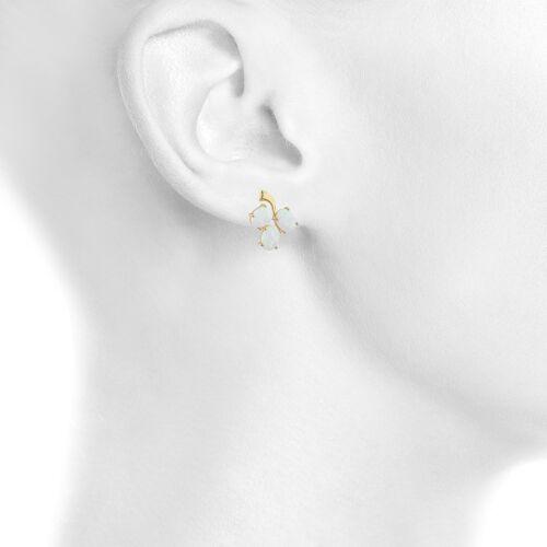 14Kt jaune plaqué or opale ovale design Clous D/'Oreilles