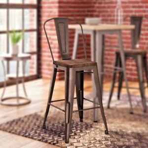 Counter bar stool set of 2 metal wood seat top rustic copper kitchen image is loading counter bar stool set of 2 metal wood watchthetrailerfo