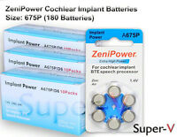 Zenipower Cochlear Implant Batteries, Size 675p (180 Batteries Total)