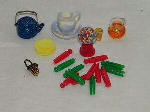 Dollhouse Miniatures Lot Doll Pottery Mini 19283 Dishes Decor 25 Pieces