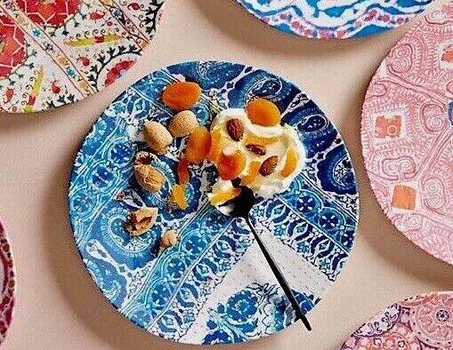 NEW ANTHROPOLOGIE SET OF 2 blueE PAISLEY TULA COLL MELAMINE DINNER PLATES PLATTER