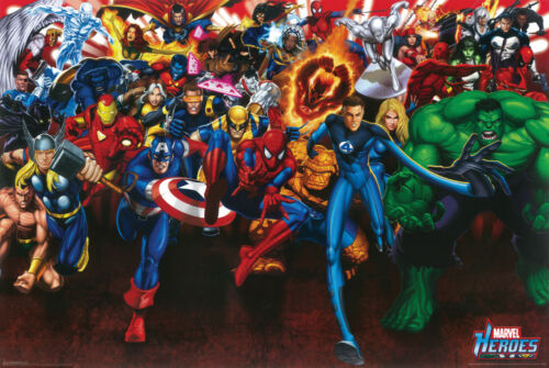Marvel Comics Superheroes 24x36 Poster Avengers X-Men Spider Man Fantastic Four
