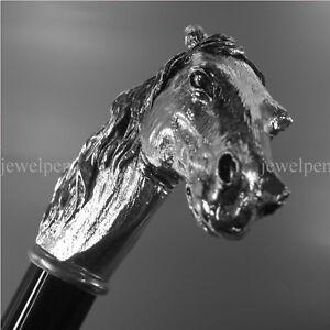 WALKING-STICK-925-SILVER-PFERD-HORSE-925-STERLING-SILBER-SPAZIERSTOCK