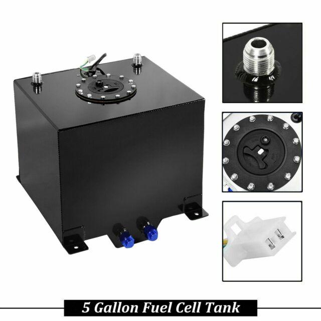 20 GALLON BLACK COATED ALUMINUM RACING//DRIFTING FUEL CELL GAS TANK+LEVEL SENDER