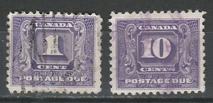 CANADA 1930 POSTAGE DUE 1C AND 10C USED