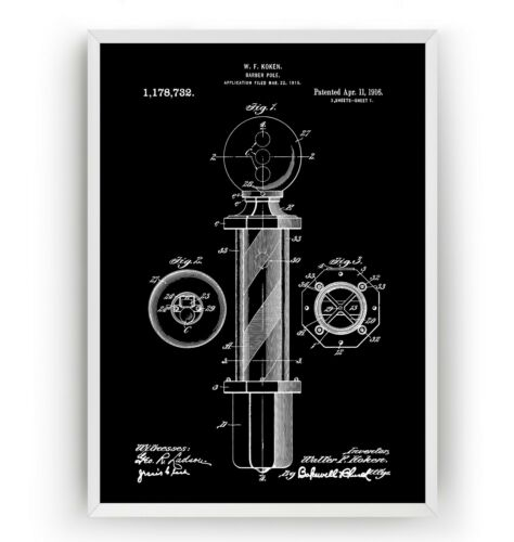 Unframed Barbers Pole Patent Print Hipster Poster Beard Shave Wall Art Gift