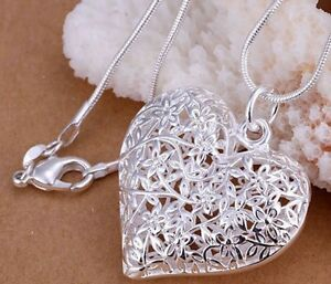 925 Sterling Silver Filled HEART Pendant Charm Necklace Chain Stunning Gift