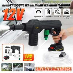 High Cordless Pressure Washer Spray Gun Washing Cleaner + 12V Battery + 5M Hose
