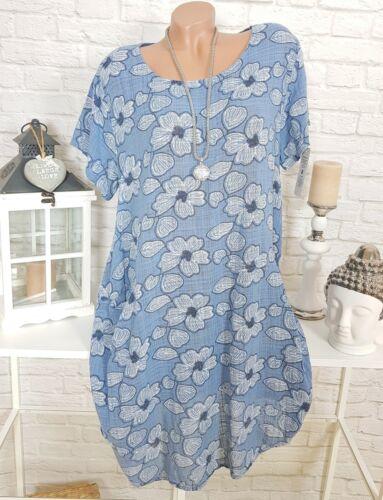 Italy Blumen Kleid Oversize Midi Sommer Tunika Strand Blau Weiß geblümt 44 46