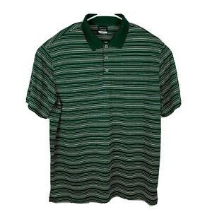 Nike-Golf-Polo-Shirt-XL-Men-039-s-DRI-FIT-Dark-Green-Striped-1-4-Button-Short-Sleeve