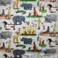 BonEful Fabric FQ Cotton Quilt VTG Curious George Monkey Yellow Hat Man Zoo RARE
