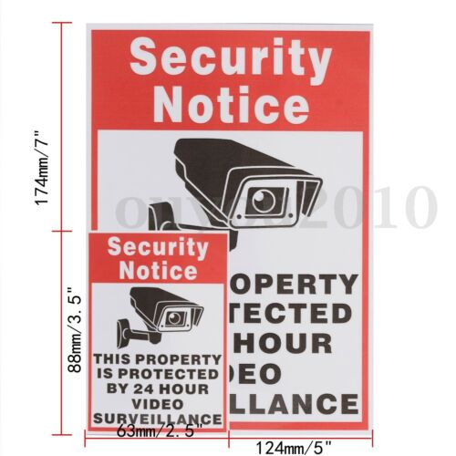 10 Home CCTV Surveillance Security Camera Video Sticker Warning Decal Sign  \//
