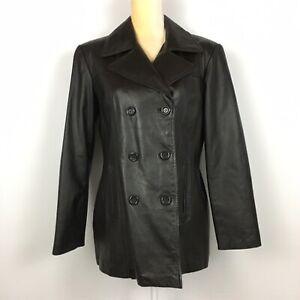 Jacqueline-Ferrar-Black-Genuine-Leather-Jacket-Button-Double-Breasted-Pockets-M