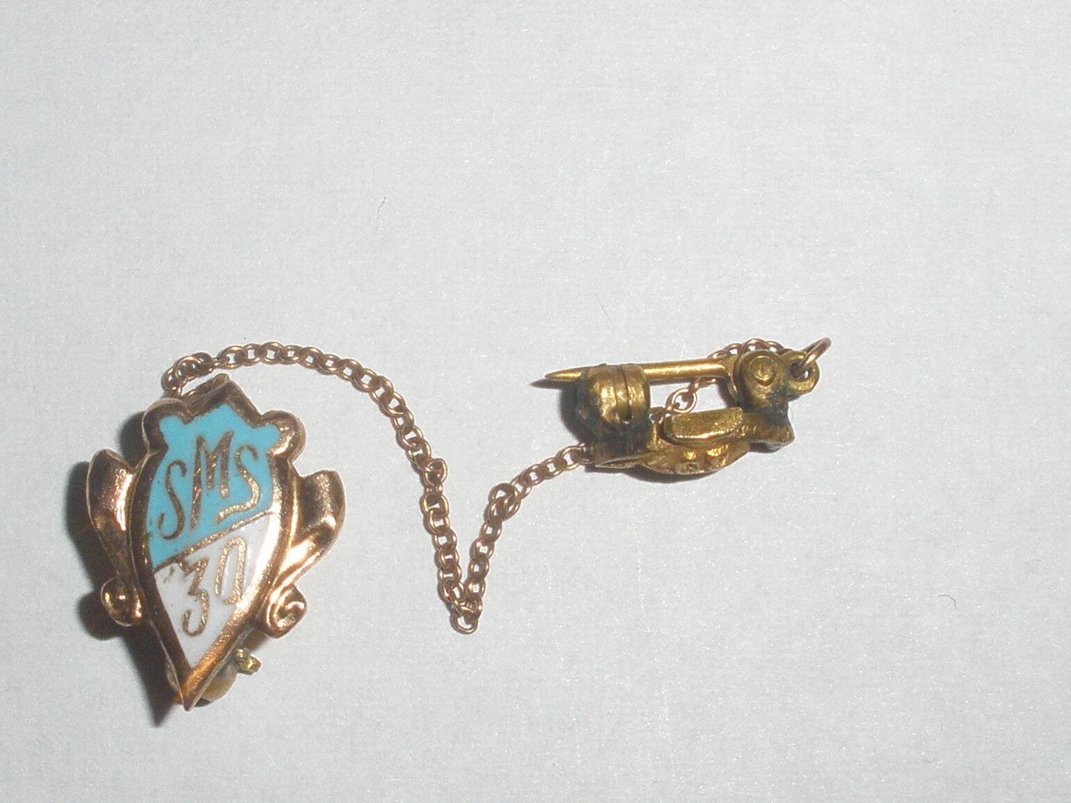 Vintage School Pin SMS 10k Yellow gold Enamel Medical School pin chain 30