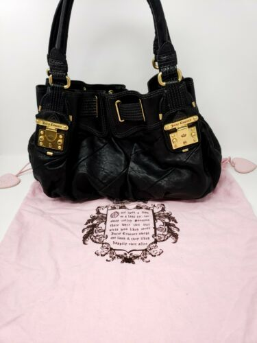 Genuine Juicy Couture 100% Leather Black Hobo Hand