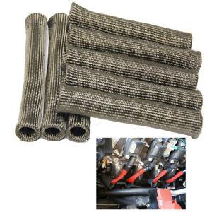 8x-155mm-Hitzeschutz-Schlauch-Hitzeschild-Pkw-Zuendkabel-Turbo-Kabelschutz-Basalt