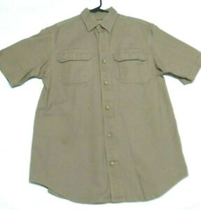 Duluth-Trading-Co-Mens-Short-Sleeve-Vented-Hiking-Shirt-Size-Medium-Khaki-Brown