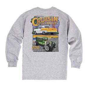 Cruisin Ocean City Official Car Show Long Sleeve Tshirt Gray - Ocean city car show 2018