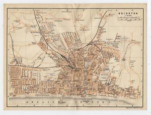 1906-ORIGINAL-ANTIQUE-CITY-MAP-OF-BRIGHTON-SUSSEX-ENGLAND