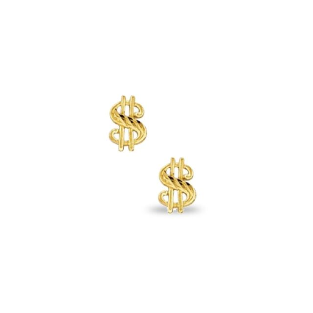 14k Yellow Gold Solid Money Dollar Sign Stud Earrings Ebay