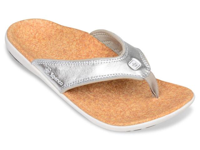 d92d181d71185a Spenco Women s PolySorb Yumi Orthotic Thong Sandals - Metallic Silver
