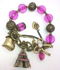Betsey Johnson Eiffel Tower Paris French Pink Beaded Charm Bracelet Bow Heart