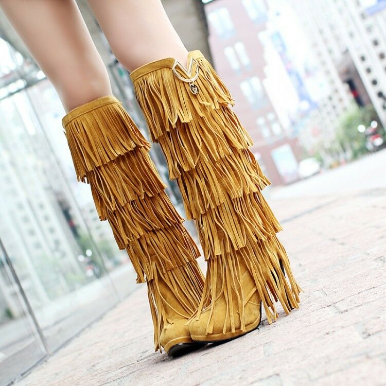 Womens Fashion Boho Tassle Knee High Boots High Heel Platform Pull On Calf shoes
