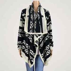 Moon-Collection-Aztec-Southwestern-Print-Wrap-Open-Front-Cardigan-Sweater-LARGE
