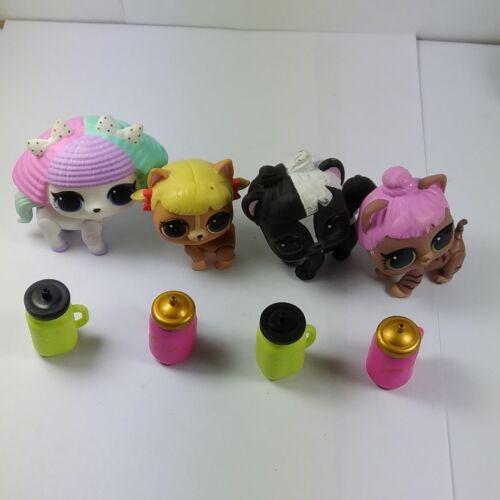 4x LOL Surprise Doll Pets PUPSTA PRANKS Cheer-Rara Skunk Bebe Cozy Kitty Bottles