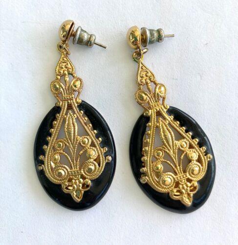 1980s Vintage Black and Yellow Tear Drop Dangle Earrings