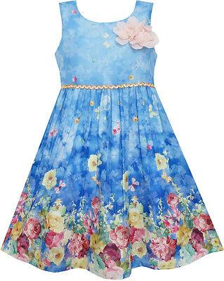 Girls Dress Sky Butterfly Blooming Rose Flower Garden Print Blue Size 4-12