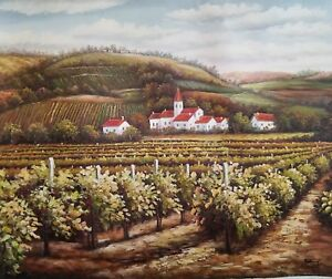 Signed-Oil-Painting-on-Canvas-of-a-Countryside-Vineyard-on-the-Hill-landscape