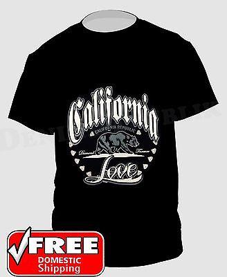 CALIFORNIA REPUBLIC Love Black T-Shirt Diamonds Forever Cali Life Tee CA