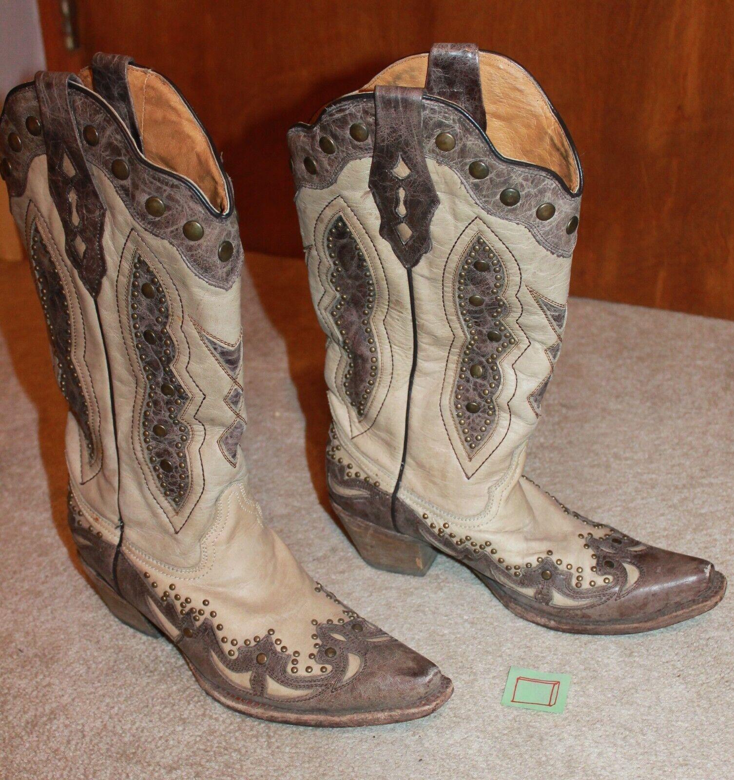 CORRAL Ladies' Size 9.5M WESTERN BOOTS (Ivory Brown w    Metal Studs; B006) EUC 6f90de
