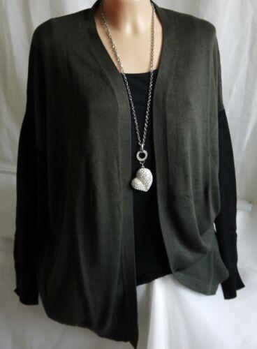 Verde oliva//nero 44-46 maglia cappotto tg Da Donna Designer Cardigan