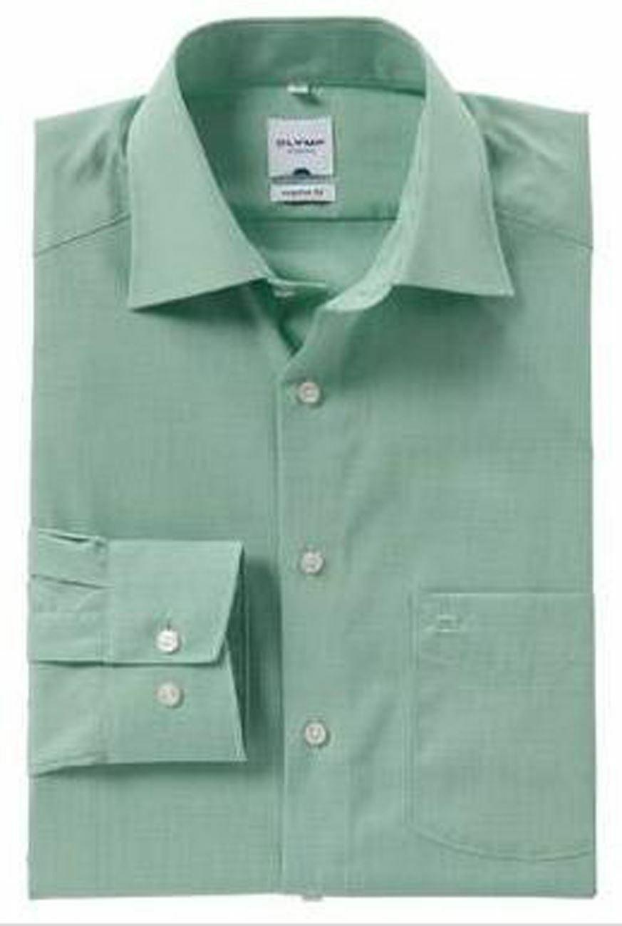 Green Microcheck Spread Collar
