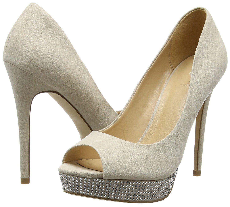BNWB ALDO Taille 6 39 Mensano Beige Nude Strass Talon Haut Fx Daim Cour Chaussures