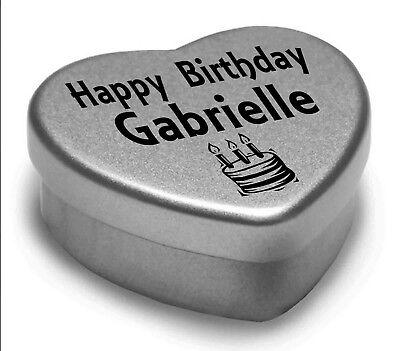Feliz Cumpleaños Gabrielle Mini Corazón Lata Regalo presente para Gabrielle Chocolates