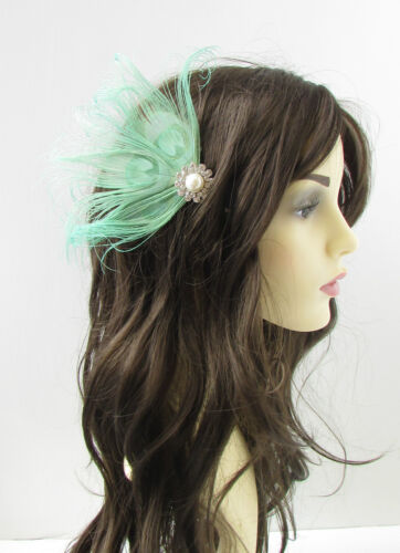 Mint Green Silver White Peacock Feather Hair Comb Fascinator Vintage 1920s 22