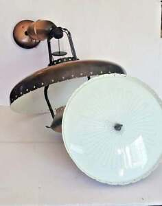 Matched Set Mid Century Lighting Pull Down & Flush Mount Ceiling Light Fixtures