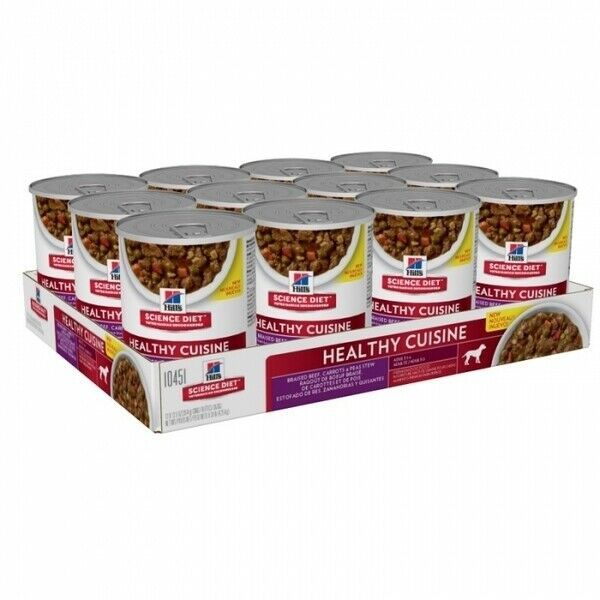 Hills Dog Adult Food Healthy Cuisine Beef & Carrot Stew 354g 12's (H2420)
