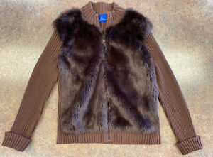 JH Collectibles Women Brown Faux Fur Full Zip Casual Long Sleeve Jacket Size XL