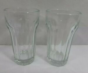 Set-of-2-Clear-Vintage-Diner-Restaurant-Ware-Juice-Glasses-Tumblers-Collectible